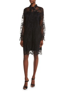 Elie Tahari Dara Long-Sleeve Lace Overlay Dress