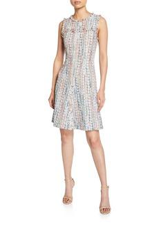 Elie Tahari Dean Crewneck Sleeveless Tweed Dress