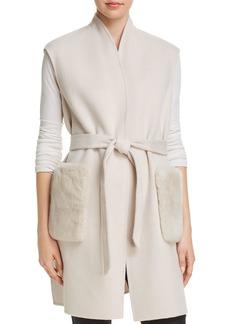 Elie Tahari Deanna Fur-Trimmed Wrap Vest