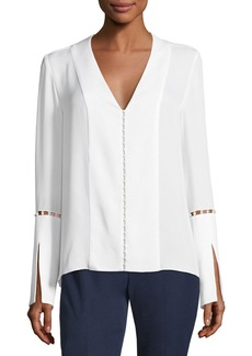 Elie Tahari Deb Long-Sleeve Pearly-Trim Silk Chiffon Blouse