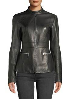 Elie Tahari Deepa Zip-Front Leather Jacket