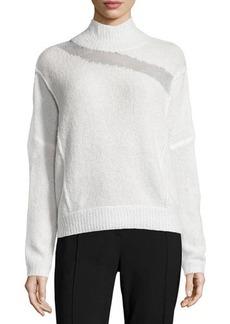 Elie Tahari Della Mock-Neck Boucle Sweater