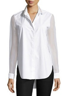 Elie Tahari Delma Embellished Button-Front Blouse