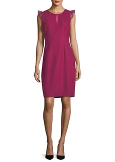 Elie Tahari Deloria Short Chiffon Flutter-Sleeve Dress