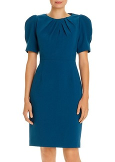 Elie Tahari Delphine Puff-Shoulder Pleated Dress