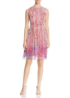 Elie Tahari Demetria Floral Print Pleat Dress