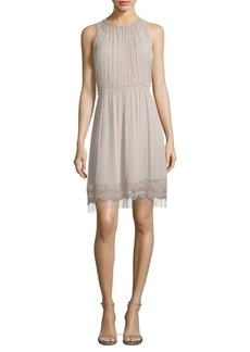 Elie Tahari Demetria Metallic Fringe Accented Roundneck Dress