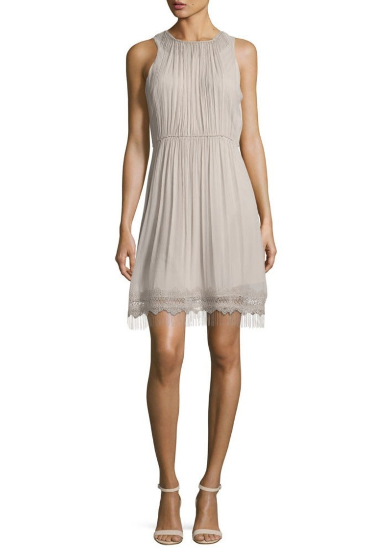 Elie Tahari Demetria Sleeveless Chain-Trim Silk Dress