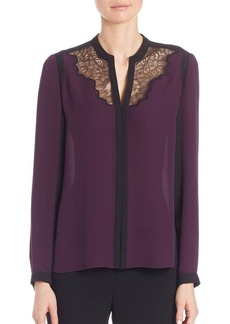 Elie Tahari Denise Colorblock Silk Blouse