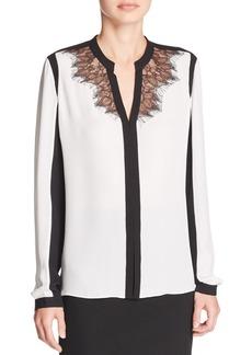 Elie Tahari Denise Lace Color Block Silk Blouse