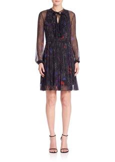 Elie Tahari Desi Silk Ruffle A-Line Dress