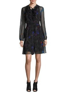Elie Tahari Desi Tie-Neck Floral Silk Chiffon Dress