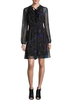 Elie Tahari Desi Tie-Neck Floral Silk Chiffon Dress