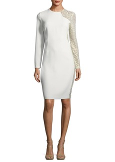 Elie Tahari Devalynne Long-Sleeve Lace-Side Dress