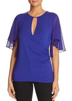 Elie Tahari Devyn Mixed Media Keyhole Top