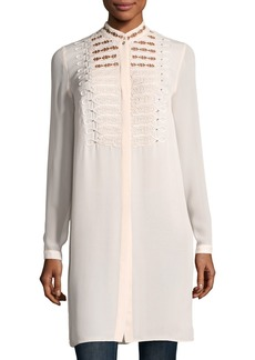Elie Tahari Divitra Lace-Bib Silk Tunic