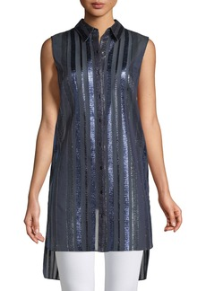 Elie Tahari Divitra Striped Sleeveless Tunic