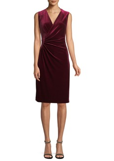 Elie Tahari Dolly Side-Ruched Sleeveless Velvet Sheath Dress