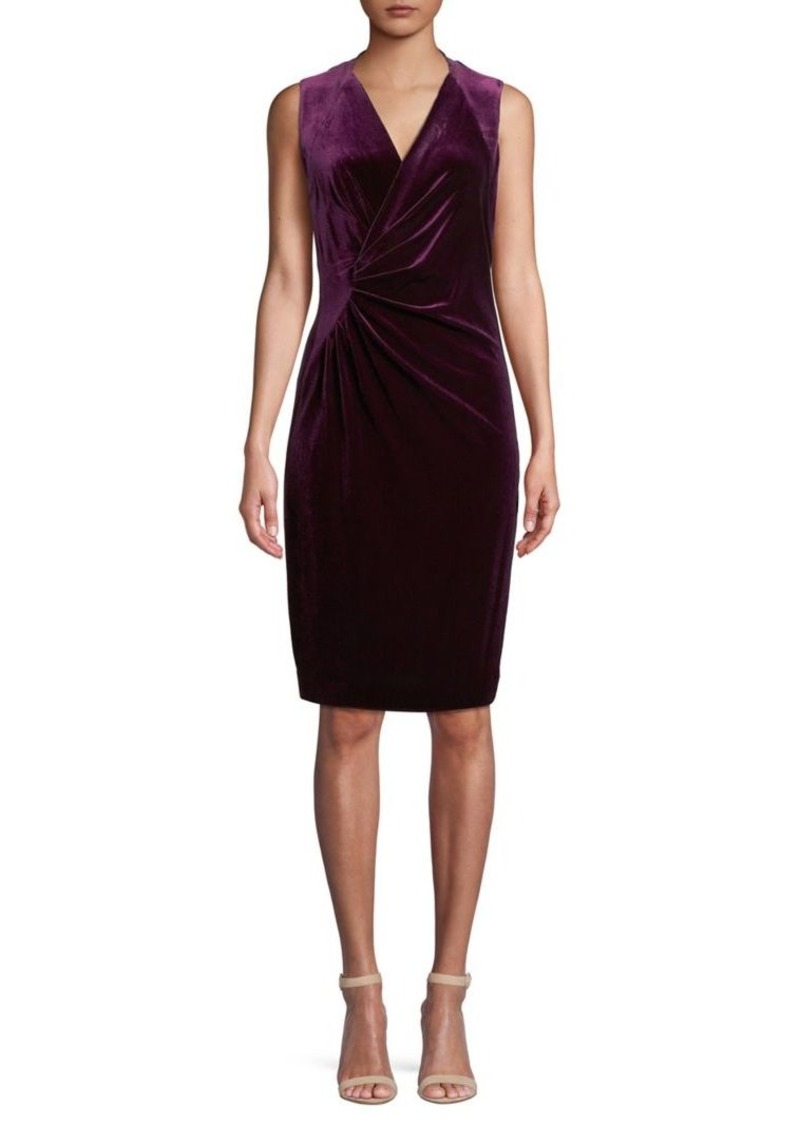 Elie Tahari Dolly Velvet Ruched Sheath Dress