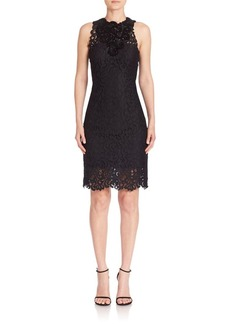 Elie Tahari Donna Embellished Lace Sheath Dress