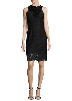 Elie Tahari Donna Sleeveless Jewel-Neck Lace Sheath Dress