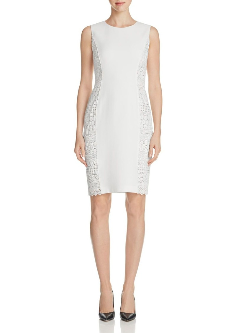 Elie Tahari Dora Crochet Side Sheath Dress