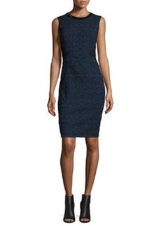 Elie Tahari Dorian Textured Lace-Panel Sheath Dress