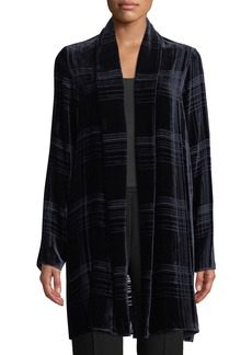 Elie Tahari Dorinda Open-Front Striped Burnout Velvet Cardigan