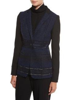 Elie Tahari Dorinda Tweed-Front One-Button Jacket