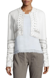 Elie Tahari Doris Embellished Cropped Jacket