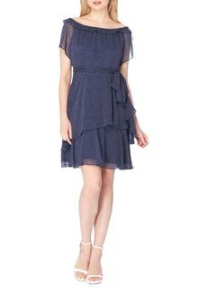 Elie Tahari Dotted Off-the-Shoulder Dress