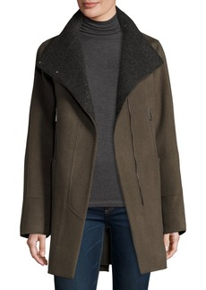 Elie Tahari Double-Faced Wool-Blend Swing Coat  Deep Mocha