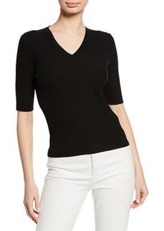 Elie Tahari Drita V-Neck Elbow-Sleeve Sweater