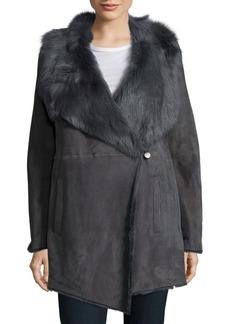 Elie Tahari Dyed Fur Long Sleeve Jacket