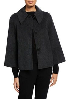 Elie Tahari Eileen Button-Front Boxy Wool Jacket