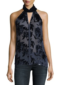 Elie Tahari Elastia Floral-Burnout Sleeveless Blouse