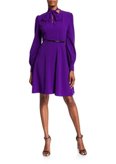 Elie Tahari Eleanora Belted Tie-Neck Dress