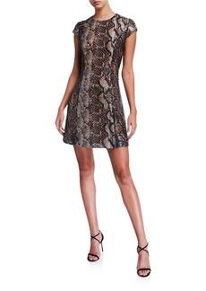 Elie Tahari Elissa Python Cap-Sleeve Mini Dress