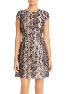 Elie Tahari Elissa Sequined Snakeskin-Print Dress