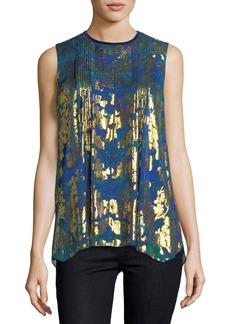 Elie Tahari Elle Sleeveless Metallic Floral Blouse