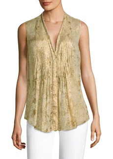 Elie Tahari Ellis Metallic Blouse