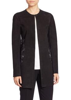Elie Tahari Ellis Suede & Lace Coat