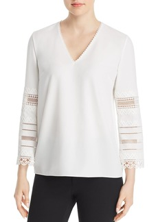 Elie Tahari Elvira Embroidered-Sleeve Blouse