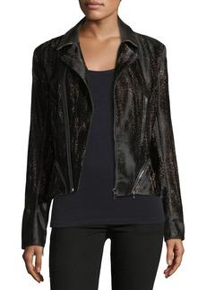 Elie Tahari Emalia Leopard-Print Leather Jacket