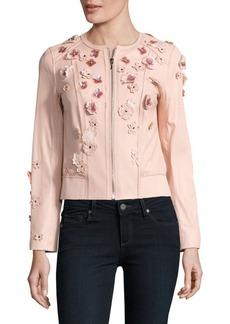 Elie Tahari Embellished Leather Bomber Jacket