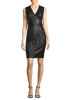 Elie Tahari Embellished Leather Sheath Dress