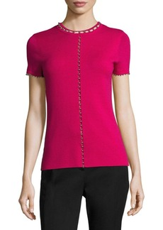 Elie Tahari Embellished Long Sleeve Knit Top
