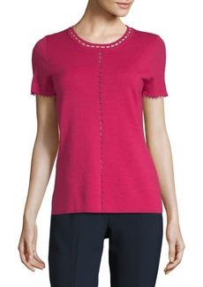 Elie Tahari Embellished Short-Sleeve Merino Top