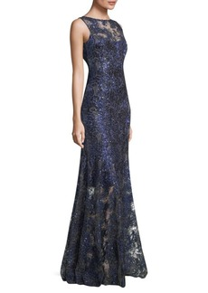 Elie Tahari Embroidered Floor-Length Gown