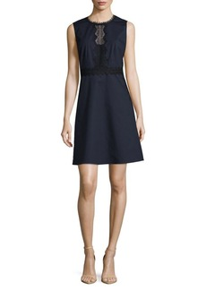 Elie Tahari Embroidered Lace Accented Dress